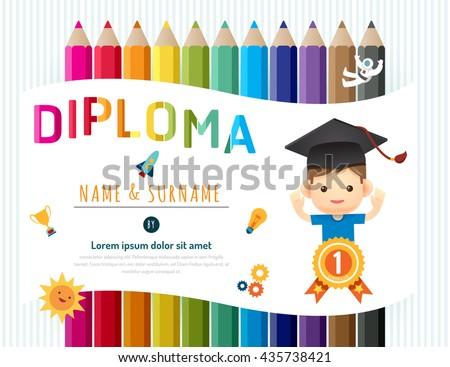 Certificate kids diploma, kindergarten template layout pencil background frame design vector. education preschool concept flat art style - stock vector