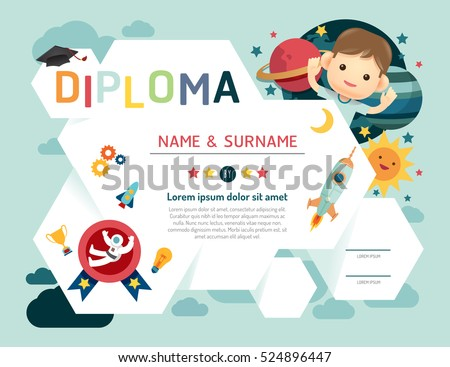 Certificate Kids Diploma, Kindergarten Template Layout Space Background  Frame Design Vector. Education Preschool Concept