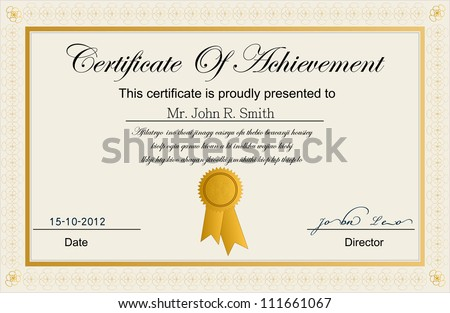 Certificate Achievement Stock Vector HD (Royalty Free) 111661067 ...