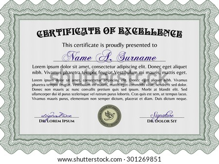 Sample Certificate Retro Design Great Quality Stock Vector