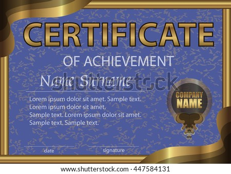 Certificate of achievement horizontal template. Blue paper in a gold frame. Winning the competition. Reward. Award winner. The text on separate layer. Vector illustration. - stock vector