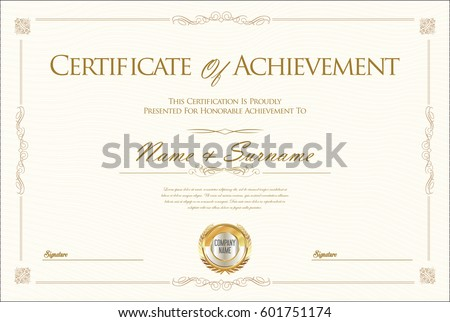 Certificate Achievement Diploma Template Stock Vector