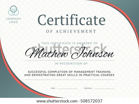 Certificate Of Achievement Template Design. Business Diploma Layout For  Training Graduation Or Course Completion.  Certificate Of Completion Training