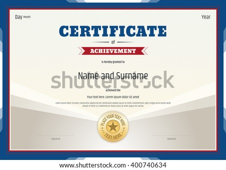 Certificate Of Achievement Template In Vector Sport Theme  Certificate Achievement Template
