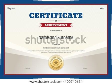 Certificate Of Achievement Template In Vector Sport Theme  Certificate Achievement Template