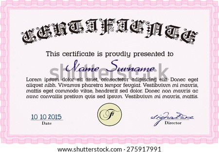 Certificate Of Achievement Template. Sophisticated Design. With Guilloche  Pattern. Vector Illustration.  Certificate Of Completion Sample