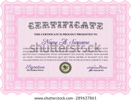 Certificate of achievement template. With great quality guilloche pattern. Vector pattern that is used in currency and diplomas.Sophisticated design.
