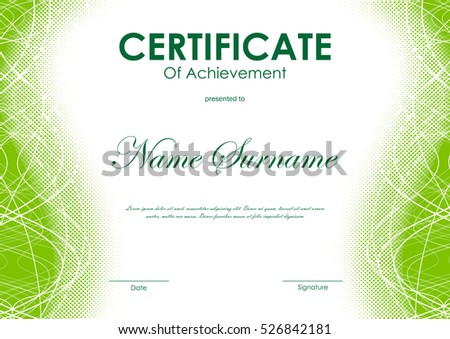 Certificate achievement template green dynamic wavy stock vector certificate of achievement template with green digital curved bright wavy halftone background vector illustration yadclub Gallery