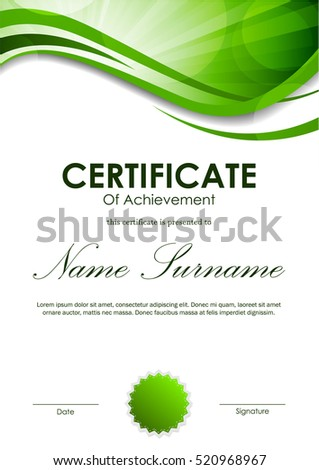Certificate achievement template green dynamic wavy stock vector certificate of achievement template with green dynamic wavy swirl background and seal vector illustration yadclub Gallery