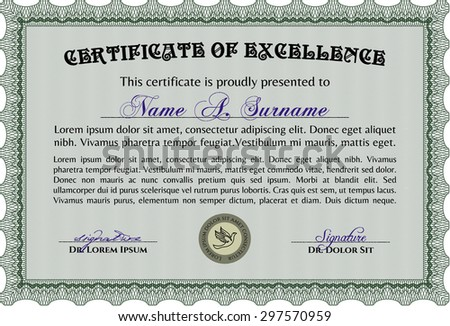Horizontal Certificate Excellence Template Stock Vector 143212705