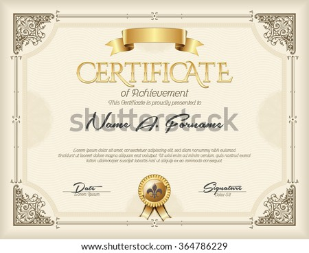 Certificate of Achievement Vintage Gold Frame Beige - stock vector