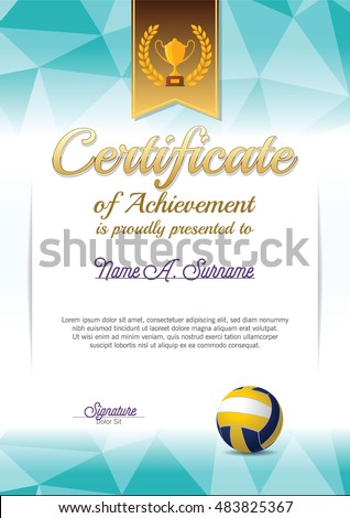 Certificate Achievement Volleyball Certificate Portrait Stock Vector ...