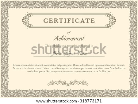 Certificate of achievement with vintage flourish elements. Detailed design elements. Decorative frame. - stock vector