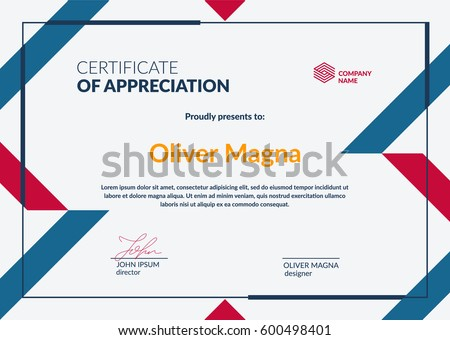 Certificate of Appreciation minimalistic template.Trendy geometric design. Layered eps10 vector.
