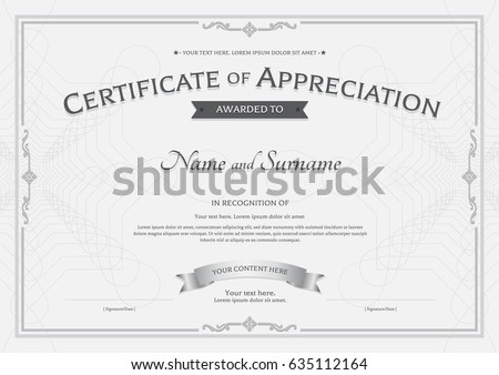 Certificate appreciation template award ribbon on certificate of appreciation template with award ribbon on abstract guilloche background with vintage border style yelopaper Image collections