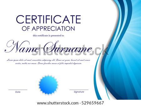blue certificate border certificate appreciation template - Blue Certificate Border Template