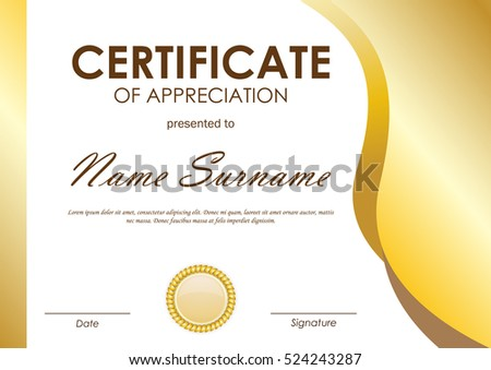 Certificate appreciation template gold wavy curved stock for Pastor appreciation certificate template free