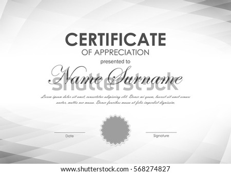 Certificate appreciation template gray geometric surface stock certificate of appreciation template with gray geometric surface tech background and seal vector illustration yelopaper Images