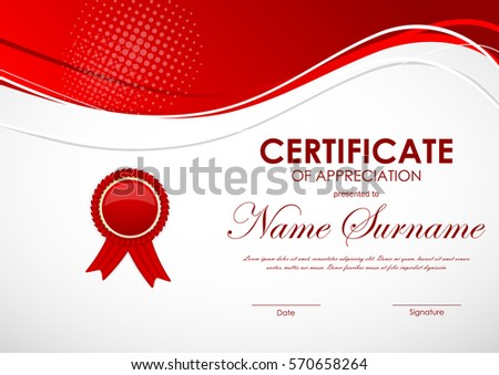 Certificate appreciation template red wavy digital stock vector certificate appreciation template red wavy digital stock vector 2018 570658264 shutterstock yadclub Image collections