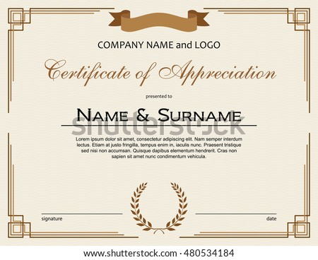 certificate of appreciation with laurel wreath and ribbon
