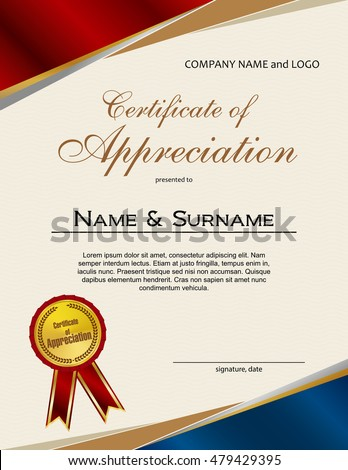 Certificate Appreciation Laurel Wreath Ribbon Stock Vector