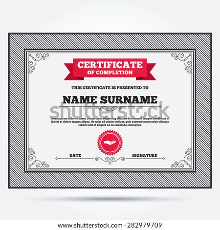 Certificate Completion Donation Hand Sign Icon Vector – Certificate of Donation Template