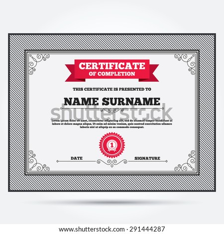 Certificate Of Completion. First Place Award Sign Icon. Prize For Winner  Symbol. Template  First Place Award Certificate