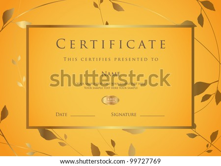 Certificate of completion template. Diploma - stock vector