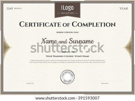 template of certificate of completion
