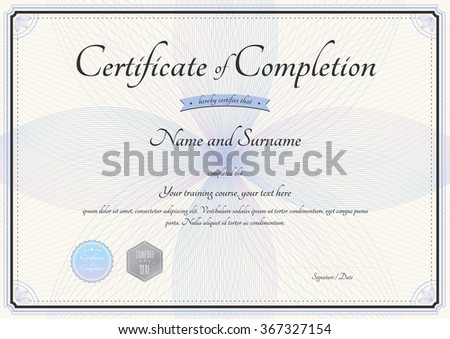 Certificate Completion Template Vector Florist Botany Vector – Certificate of Completion of Training Template