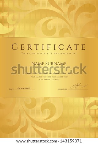 Certificate completion template sample background golden stock photo certificate of completion template or sample background with golden floral pattern swirl yelopaper Gallery