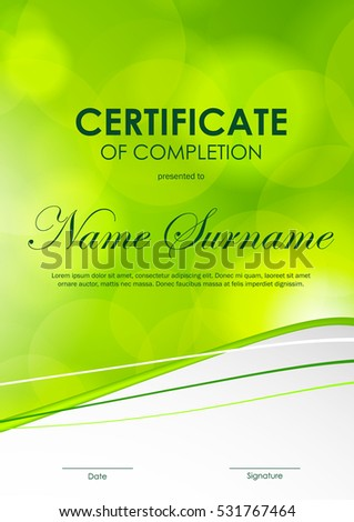 Certificate completion template bright green blurred stock vector certificate of completion template with bright green blurred wavy background vector illustration yadclub Choice Image