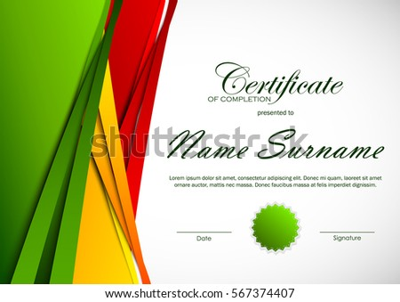 Certificate completion template colorful cut paper stock vector certificate of completion template with colorful cut paper background and green seal vector illustration yadclub Choice Image