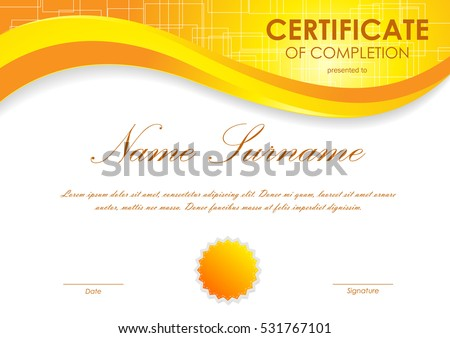 Certificate appreciation template orange light soft stock vector certificate of completion template with digital orange light wavy square surface background and seal vector yadclub Images