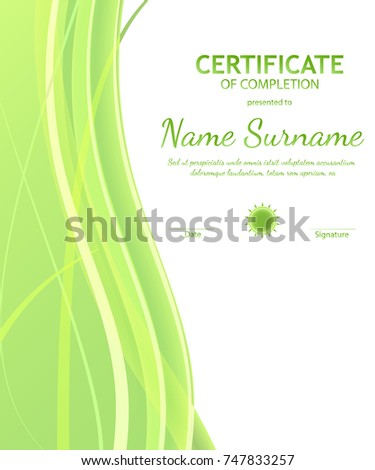 Certificate completion template dynamic green white stock vector certificate of completion template with dynamic green and white soft wavy background curved lines in yadclub Choice Image