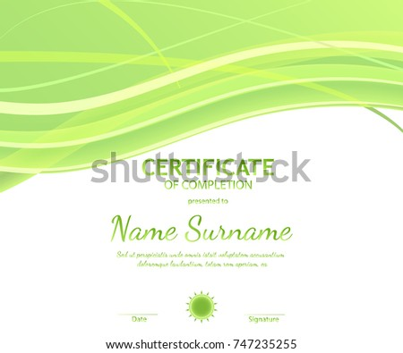 Certificate completion template green dynamic light stock vector certificate of completion template with dynamic light green soft wavy background vector illustration yadclub Gallery