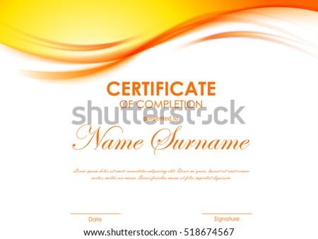 Certificate completion template dynamic orange soft stock vector certificate of completion template with dynamic orange soft wavy background vector illustration yadclub Images