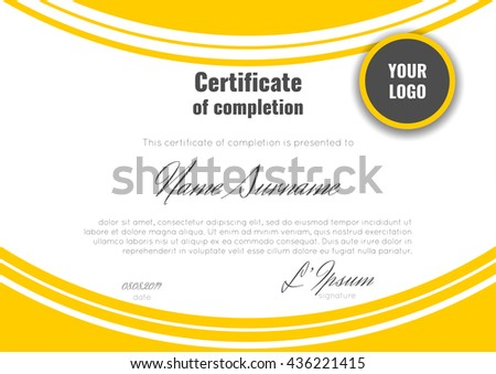 Certificate achievement template orange bent soft stock vector certificate of completion template with geometric abstract background stock vector yadclub Images