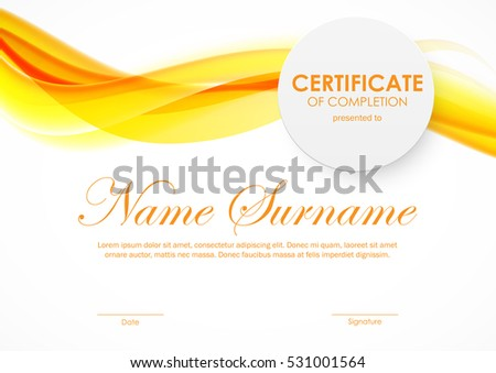 Certificate completion template orange bright soft stock vector certificate of completion template with orange bright soft smoky wavy background and paper circle badge yadclub Images
