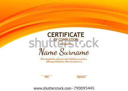 Certificate completion template orange dynamic wavy stock vector certificate of completion template with orange dynamic wavy light background vector illustration yadclub Images
