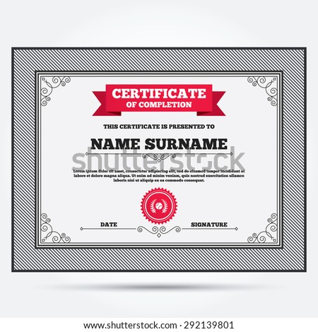 Certificate completion first place award sign stock vector certificate of completion tennis ball sign icon sport laurel wreath symbol winner award yadclub Images