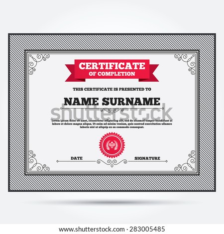 Certificate Completion First Place Award Sign Vector – Certificate Winner