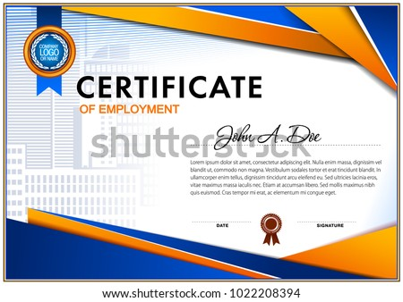 certificate of employment blue and orange colors simple geometrical design