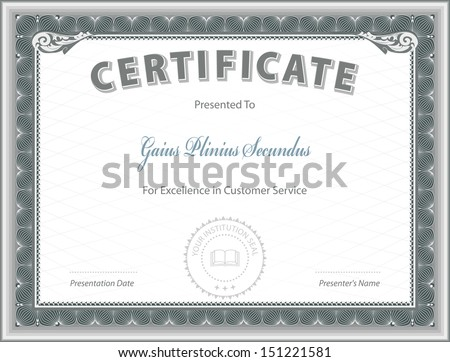 Certificate of Excellence Template - stock vector
