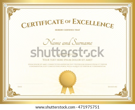 Certificate Excellence Template Vintage Gold Border Stock Vector