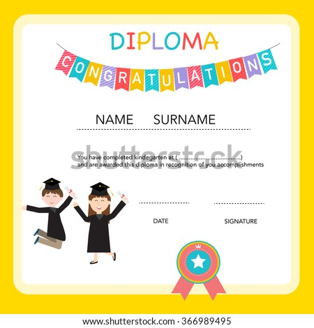 Preschool graduation stock images royalty free images vectors certificate of kids diploma preschoolkindergarten template background vector illustration eps10 yadclub Image collections