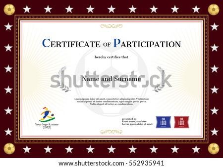 Certificate Participation Template Sport Theme Football – Template for Certificate of Participation