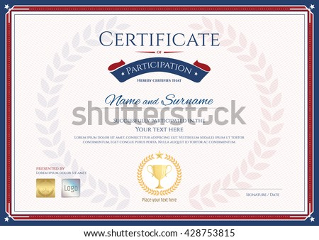 Certificate stock images royalty free images vectors shutterstock certificate of participation template in sport theme with gold trophy seal on award wreath yelopaper Image collections
