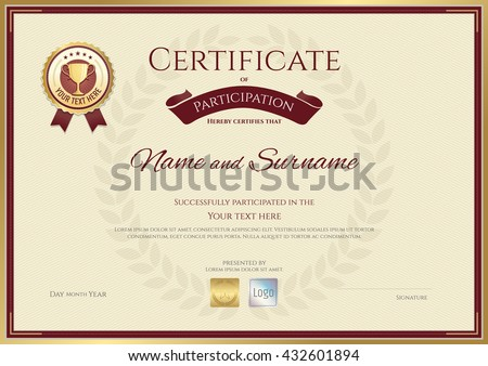 Certificate Of Participation Template In Sport Theme With Gold Trophy Seal  On Award Wreath  Certificate Of Participation Free Template