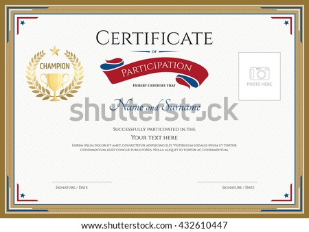 certificate of participation template with gold border gold trophy champion wreath and photo space